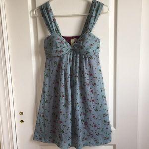 Johnny Martin pale blue floral mini dress. EUC 5